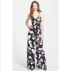 Astr the label Black and White Floral Jumpsuit